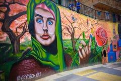 Het typische kunstwerk in Comuna 13, Medellin stock afbeelding