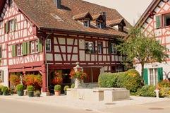 Het typische Zwitserse Huis van het Landbouwbedrijf Stock Fotografie