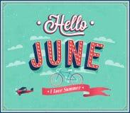 Het typografische ontwerp van Hello juni. Stock Afbeeldingen