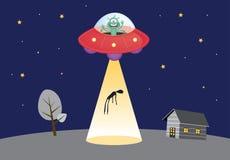 Het UFO ontvoert menselijk silhouet in vleklicht Royalty-vrije Stock Afbeelding