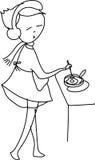 Het uit de vrije hand het meisje van het schetsbeeldverhaal koken Stock Foto's