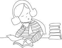 Het uit de vrije hand meisje van het schetsbeeldverhaal ontspant lezing Stock Fotografie