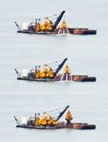 Het Uitbaggeren van het zand in Azië. Stock Fotografie