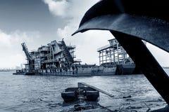 Het uitbaggeren van schip in de Yangtze-Rivier royalty-vrije stock afbeelding