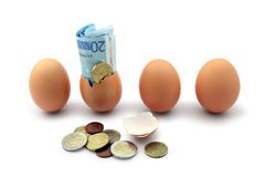 Het uitbroeden van het geld - financiën/investeringsconcept Royalty-vrije Stock Foto