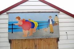Het uitdagende de hut van het prentbriefkaarstrand schilderen Stock Afbeeldingen