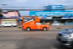 Het uitdrukkelijke logistische de vrachtwagen van Kerry lopen stock foto