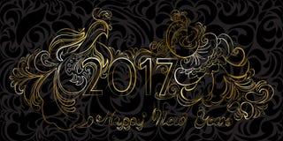 Het uitdrukkings gouden Gelukkige Nieuwjaar 2017 en hanen op een zwarte rug stock foto