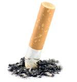 Het Uiteinde van de sigaret en de Geïsoleerded Macro van de As, Royalty-vrije Stock Fotografie