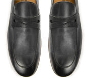 Het uiteinde van mannelijke die schoenen op wit wordt geïsoleerd Royalty-vrije Stock Afbeelding
