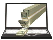 Het uitgieten van het geld van een notitieboekjecomputer 3D Illustratie Royalty-vrije Stock Afbeelding