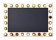 Het uithangbord met gloeilampenrand omvat het knippen masker Stock Foto