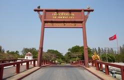 Het uithangbord het Oude Stadspark, Muang Boran, de provincie van Samut Prakan, Thailand royalty-vrije stock foto's