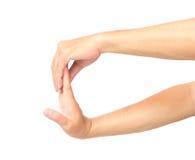 Het uitrekken van oefeningenvinger op witte achtergrond Stock Afbeelding