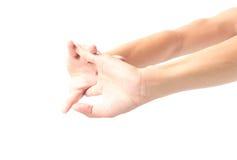 Het uitrekken van oefeningenvinger op witte achtergrond Royalty-vrije Stock Foto