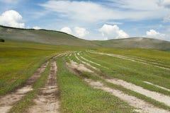 Het uitspreiden van Wegen van Noordelijk Mongolië stock foto