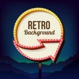 Het uitstekende aanplakbord van de reclameweg met lichten Retro 3d teken vector illustratie