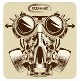 Het uitstekende aardige art. van de gasmasker vectortekening Royalty-vrije Stock Foto