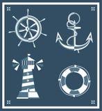 Het uitstekende anker van het de vuurtorenwiel van zeemanspictogrammen Stock Afbeelding