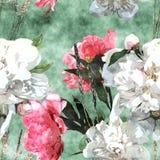 Het uitstekende bloemen naadloze patroon van de kunstwaterverf met wit en pi Royalty-vrije Stock Fotografie