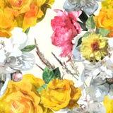 Het uitstekende bloemen naadloze patroon van de kunstwaterverf met wit, yello Royalty-vrije Stock Fotografie