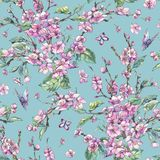 Het uitstekende bloemen naadloze patroon van de waterverflente met roze bloo stock illustratie
