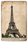 Het uitstekende concept van de stijlprentbriefkaar met de Toren Parijs van Eiffel Royalty-vrije Stock Afbeeldingen