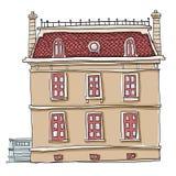 Het uitstekende de kunst van de huis leuke lijn schilderen Stock Foto