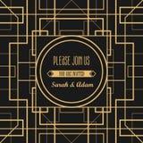 Het uitstekende decoratieve kader van Art Deco Retro vectortemperaturen van het kaartontwerp Stock Afbeeldingen