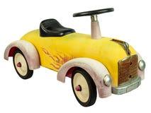 Het uitstekende die stuk speelgoed van de duwauto op wit wordt geïsoleerde royalty-vrije stock afbeeldingen