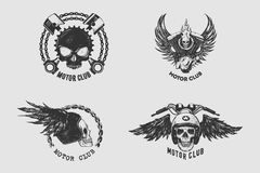 Het het uitstekende die Teken en Etiket van de Motorclub met ketting, schedel, helm en vleugel wordt geplaatst Embleem van fietse stock illustratie