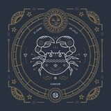 Het uitstekende dunne etiket van het de dierenriemteken van lijnkanker Retro vector astrologisch symbool, mysticus, heilig meetku vector illustratie