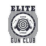 Het uitstekende embleem van de kanonclub, druk met pistolen royalty-vrije illustratie