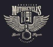 Het uitstekende embleem van de motorfietsreparatiewerkplaats royalty-vrije illustratie