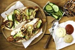 Het Uitstekende etiket van hotdogs Royalty-vrije Stock Afbeeldingen