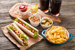 Het Uitstekende etiket van hotdogs Stock Afbeeldingen