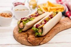 Het Uitstekende etiket van hotdogs Stock Afbeelding