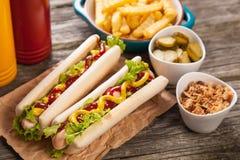 Het Uitstekende etiket van hotdogs Stock Foto's