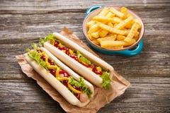 Het Uitstekende etiket van hotdogs Stock Fotografie