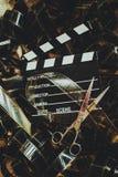 Het uitstekende film achtergrondconcept uitgeven en definitieve besnoeiing Stock Foto's
