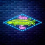 Het uitstekende gloeiende neon van het visserijembleem Stock Foto's