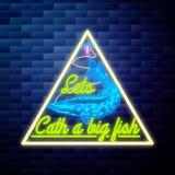 Het uitstekende gloeiende neon van het visserijembleem Royalty-vrije Stock Fotografie