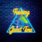Het uitstekende gloeiende neon van het visserijembleem Stock Afbeeldingen