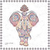 Het uitstekende grafische vector Indische naadloze klopje van de lotusbloem etnische olifant Royalty-vrije Stock Afbeelding