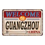 Het uitstekende grungeonthaal aan Guangzhou China roestte plaat op witte achtergrond vector illustratie