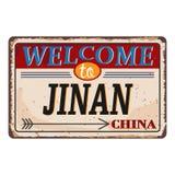 Het uitstekende grungeonthaal aan Jinan China roestte plaat op witte achtergrond vector illustratie