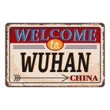 Het uitstekende grungeonthaal aan Wuhan China roestte plaat op witte achtergrond royalty-vrije illustratie