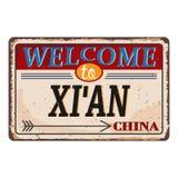 Het uitstekende grungeonthaal aan Xi 'China roestte plaat op witte achtergrond stock illustratie