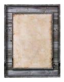 Het uitstekende houten frame met document vult Stock Fotografie