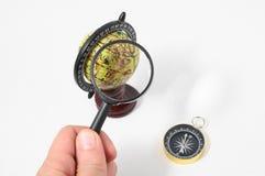 Het uitstekende Kompas van de Hulpmiddelenbol Royalty-vrije Stock Afbeelding
